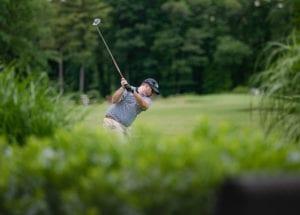 golfer in backswing